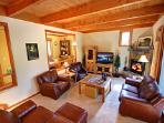 Sunken living area with flat screen TV