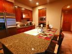 Modern appliances & cherry cabinets