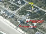 Aerial photo showing location of home