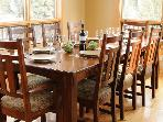 There is seating for eight at the large dining table