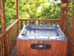 Hot tub in secluded area of deck