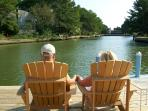 Romantic spot on Assateague's Spinnaker Vacation Home's private waterfront living area