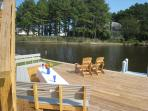 Relaxing spot on The Ponyisland Home's private deck overlooking Assateague island VA  with ponies
