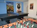 Table tennis, Foosball and electronic dartboard