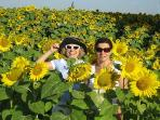 sunflower fields around the estate with Quirina and Ilana ,the owners