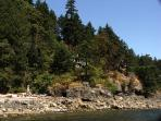 From the dock you can view the cottage nestled among the Firs, Labernum, & Arbutus above the beach.