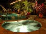 Waterfall pool & jacuzzi in your absolutely private island garden paradise.