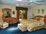 The spacious master suite faces the jacuzzi and has a walk-in closet.