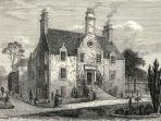 Etching of historic Pilrig House (built 1638)