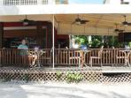 Enjoy breakfast, lunch or dinner at Sangria's Beachside Bistro right on our beach