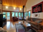 The Cabin: Wood Stove, great art, windows and light and cathedral ceilings.