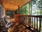 The Cabin: Wrap around porch.  Watch the tides or read a book but be sure to relax!