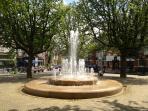 fountain near apartment