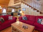 Upper Level Living Area/Queen Sleeper,Stacked Stone Fireplace,42 in HDTV