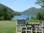 Jordan Pond House restaurant lawn seating,  Acadia NP on Mt. Desert Island, lunch, tea, popovers.