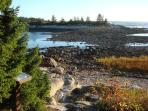 Low tide provides walking access to Little Moose Island