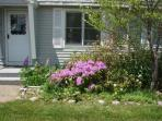 Front entry of our Maine vacation rental home during Spring.