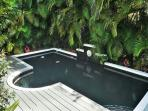 Private Heated Pool with Lush Tropical Foliage and Decking.