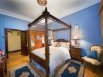 Bluebell - second bedroom with four-poster queen bed complete with fine linen
