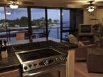 View out to lania from the kitchen of #305 Kuhio Shores, a Kauai vacation rental