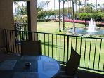 Lanai view with views to ocean.  Perfect for sunset viewing.  Fountains change color at night.