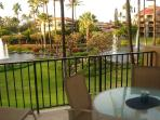 Lanai view of fountains and gardens.