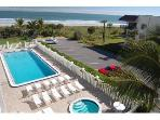 Watch the fun at Crystal Clear heated pool, hot tub and the beach