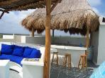 Roof top bar & built in sofa at Casa Caribbean Soul in Tankah Bay
