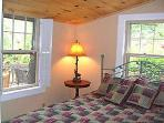 Master Bedroom with QUEEN BED, Pine Cathedral Ceiling, CLOSE MOUNTAIN VIEWS.