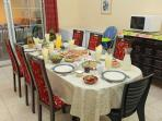 Family - Dining table with our Home Made Israeli Country Breakfast
