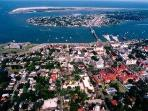 Aerial view Anastasia Island & Downtown Historic St. Augustine