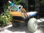 Llarge beach cart is easy to roll with these tires