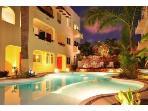 Evening pool view in Playa Kaan