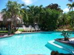 Pool area, private and pristine waters