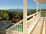 The side deck and the steps to the pool