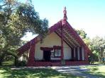 Waitangi Treaty grounds and Maori meeting house