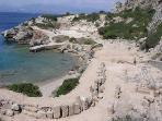Within an hour's-drive from Ares' House you find Limni Vouliagmenis, a composition of ruins and sea.