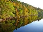 A wonderful reflection of the autumn colours on Loch Ness