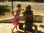 DOWNTOWN: Tourist and statue of Brigitte Bardot at Orla Bardot