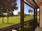 Golf course view from the screened balcony
