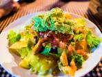 local fare (guacamole and chips)