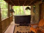 Lower Level Porch Hot Tub With Cascading Waterfall Overlooks  Secluded Wooded Setting & Mnt. View