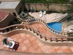 the pool and decks from above