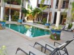 Courtyard and pool, private access to the beach