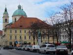 Ljubljana chathedral near food and flower market