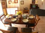 Dining table for six and Living area