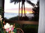 Sunset from our Kauai condo at Kuhio Shores