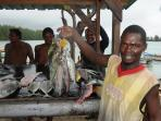 Fresh fish for sale by the causeway