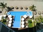 Pool Area and Beach As Seen From Oceano Terrace -Palapas and Roped Beach Area Is Private For Guests