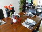 Dine in Style - Large Oak Table with Stylish Leather Chairs